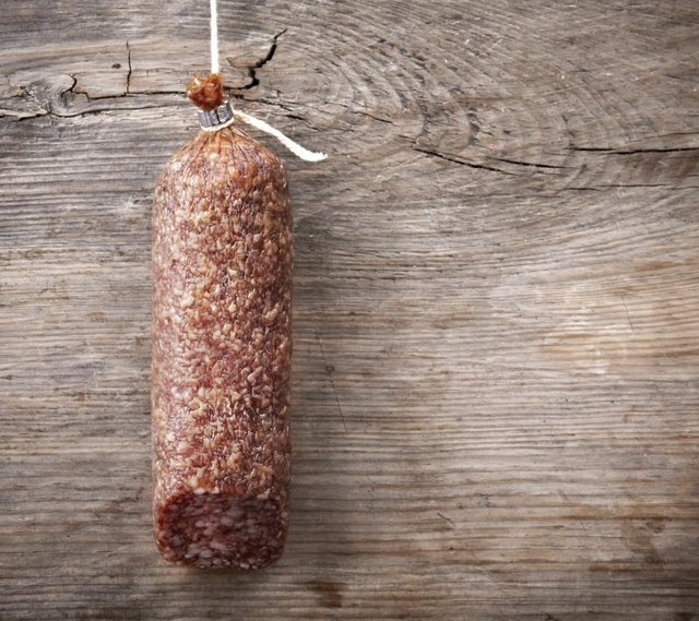Salami hanging from a string.