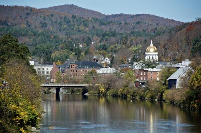 Small riverside town in Vermont.