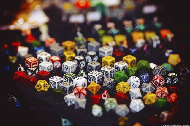 Hex and regular dice on display
