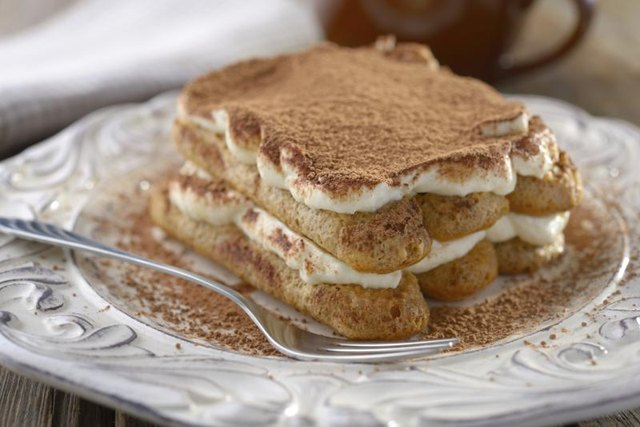 Close-up of tiramisu dessert on plate