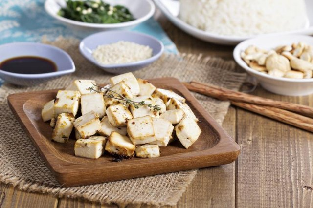 Small plate of baked tofu.
