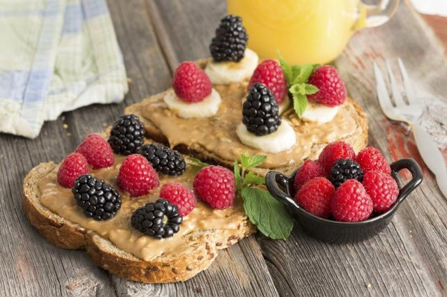 Toast with peanut butter and fruit.