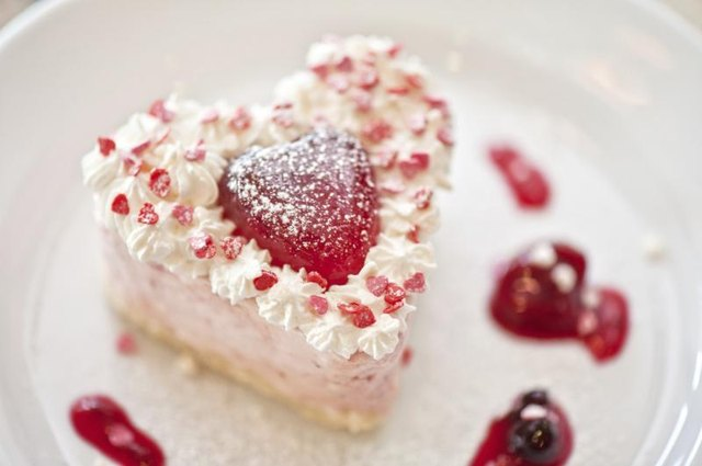 A close-up of a heart shaped cake.