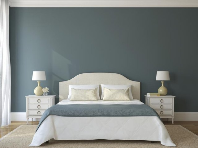 Bedroom wall painted lagoon blue