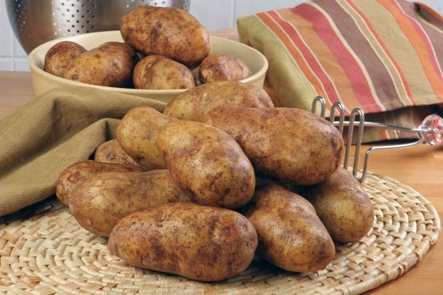Pile of russet potatoes.