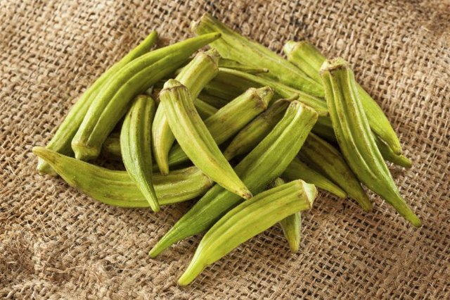 Close-up of pieces of fresh okra.
