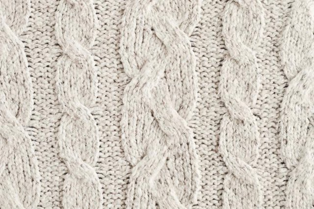 Close-up of a knitted wool jacket.