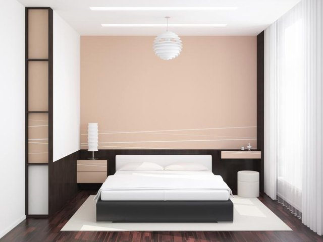 Bedroom with soft pink paint on wall