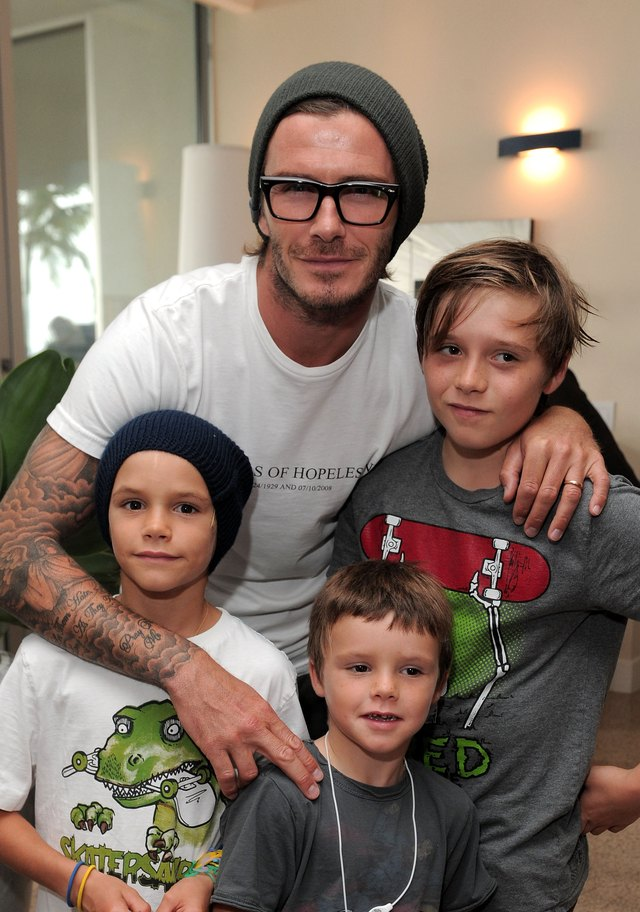 Soccer star David Beckham goes bold with his eyewear.