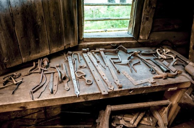 Assorted tools inside a blacksmith's forge