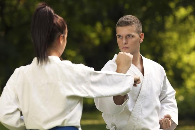 People training in martial arts