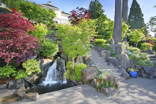 Waterfalls add interest to large and small gardens.