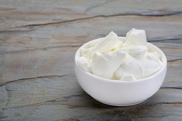 Small bowl of Greek yogurt.