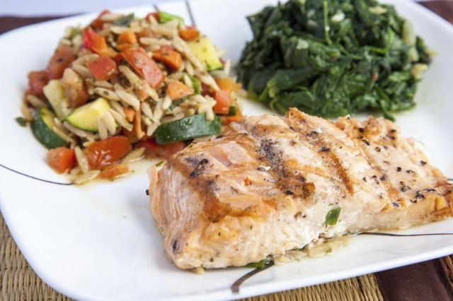 A plate with grilled salmon and vegetables.