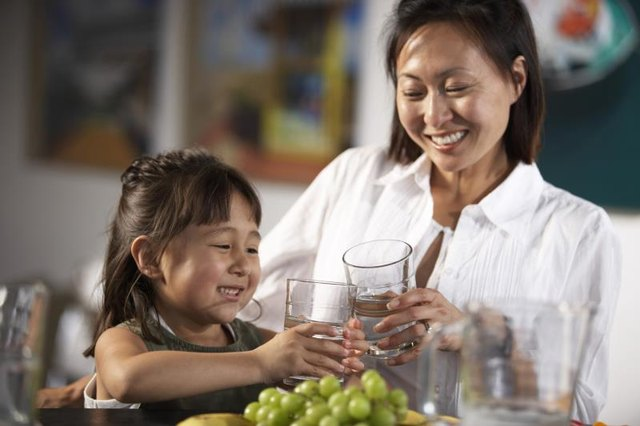 Mother and daughter toast with a glass of water