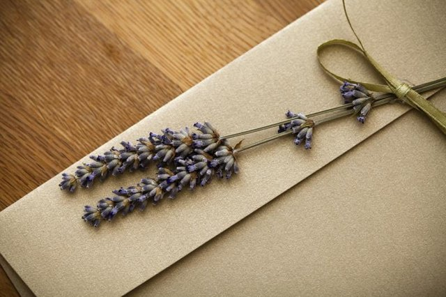 Lavendar sprigs on envelope