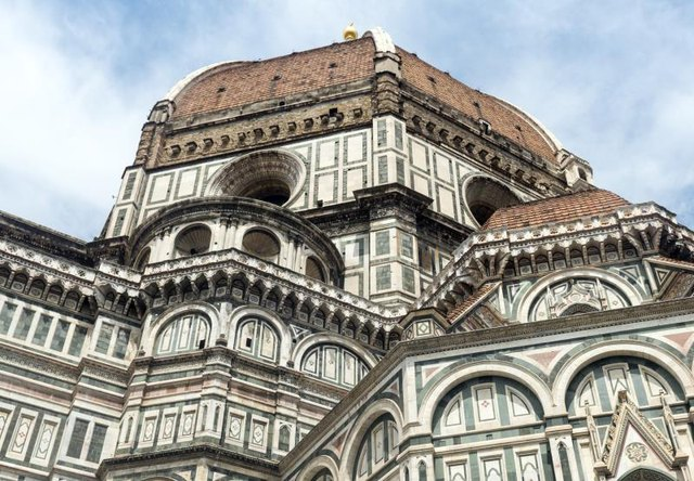 A side view of the Florence Cathedral, designed by Brunelleschi