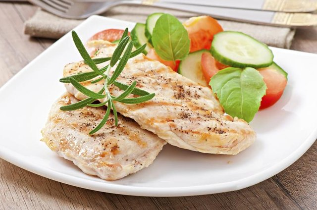Plate of grilled chicken breast.