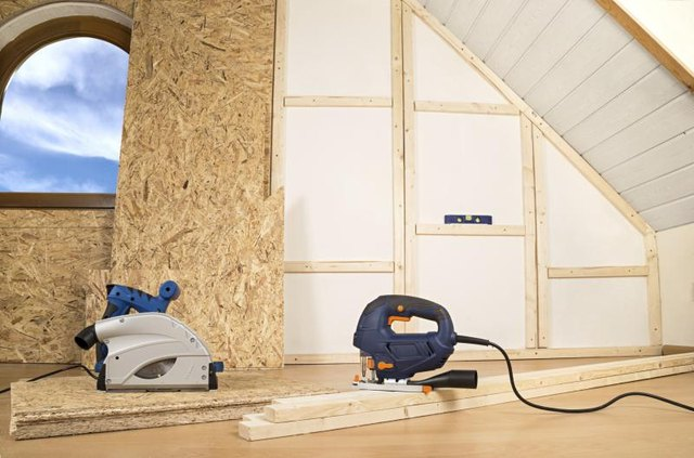 Plywood installation in home interior walls.