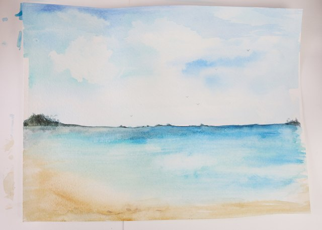 How to paint a beach scene with pictures ehow for Watercolor scenes beginners
