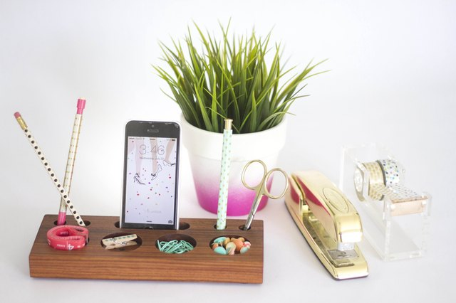 How to make a modern desk organizer from a block of wood for Modern office decor accessories