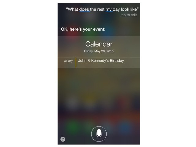 Calendar commands with Siri