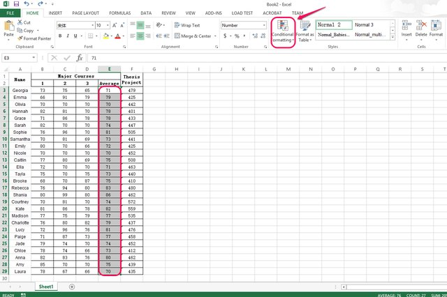 Select table cells and click Conditional Formatting.