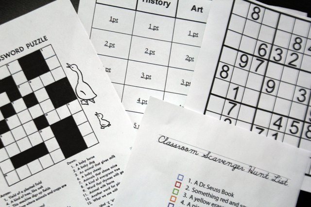Puzzles and games for middle schoolers are offered in print and electronic form.