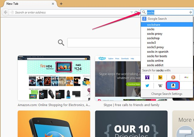 Firefox includes several One-Click Search engines out of the box, such as Wikipedia or Twitter.