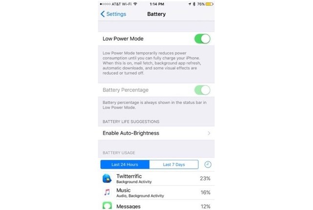 Low-power mode enabled on iOS 9.