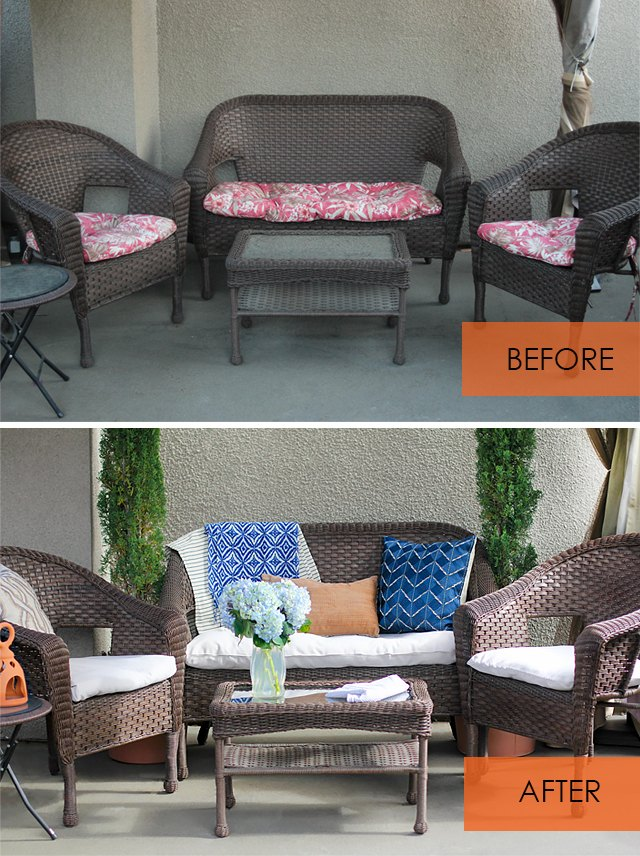 How to recover patio cushions without sewing ehow for Recover wicker furniture