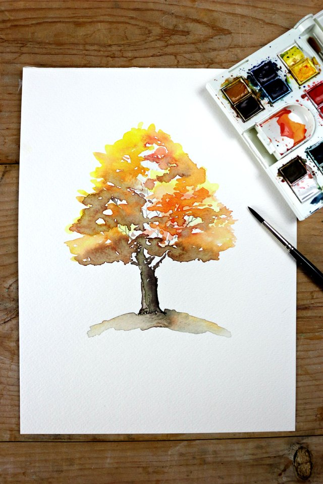 Easy autumn tree watercolor painting ehow for Easy watercolor tutorial