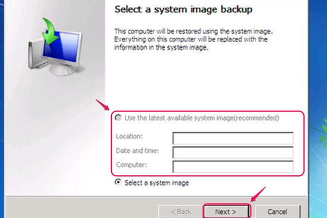 """Click """"Next"""" to confirm that the location shown is where the backup is located."""