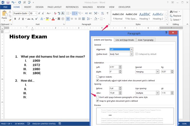how to create blank space line in word