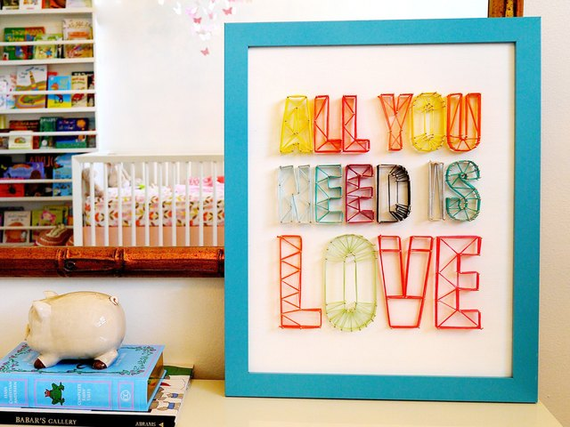 Make a string art sign for a nursery or any room.