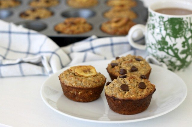 Oatmeal protein muffins with chocolate chips and banana chips