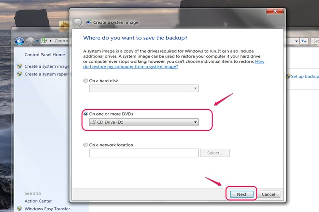 Select the CD drive as the destination for your system image.