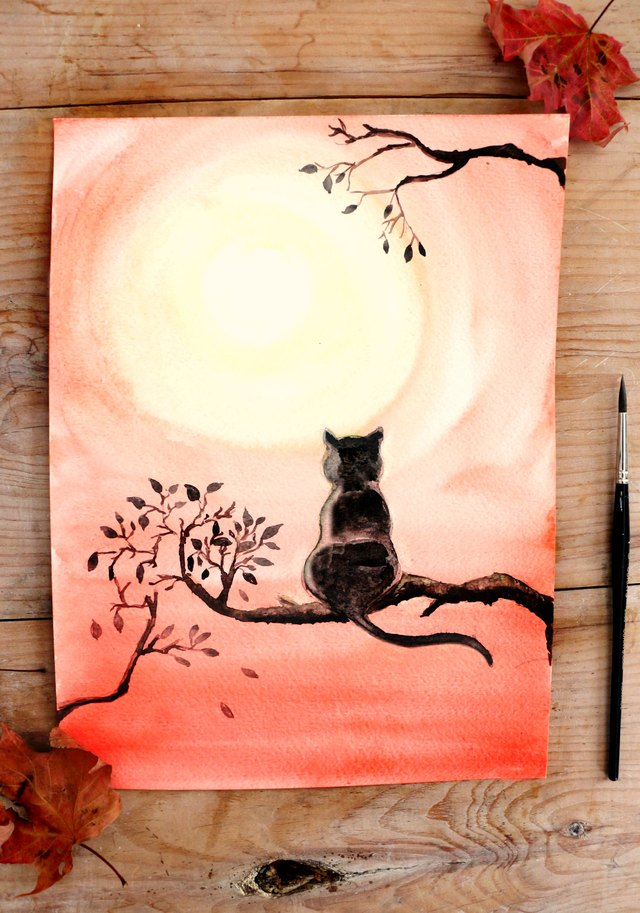 Diy black cat watercolor painting ehow for What paint for canvas