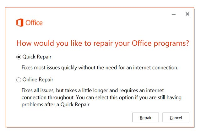 "Select  ""Quick Repair."""