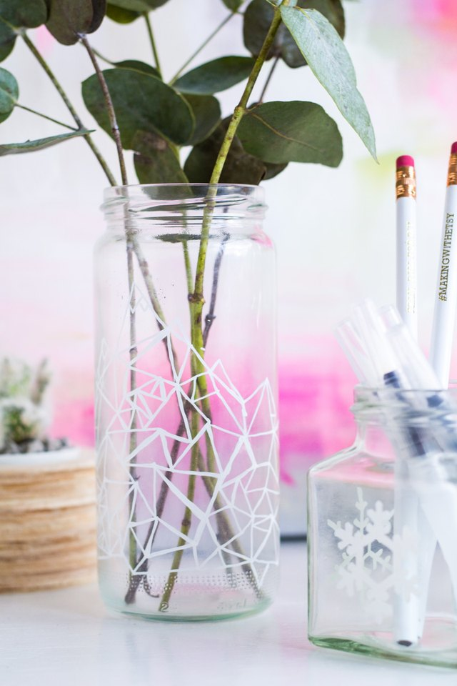 How to decorate glass jars with porcelain paint pens with for How to decorate empty glass jars