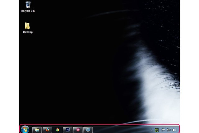 The default position of the taskbar in Windows 7.