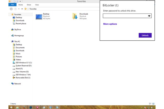 Unlocking a flash drive encrypted by BitLocker to Go.