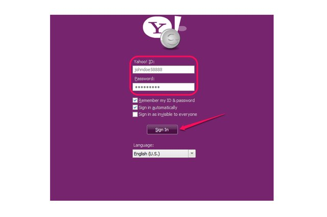 "Yahoo Messenger login screen filled out and ""Sign In"" button."
