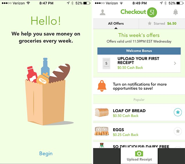 Get cash back on groceries with Checkout51.