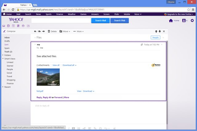 Yahoo can preview PDF files even on computers without a PDF viewing application.