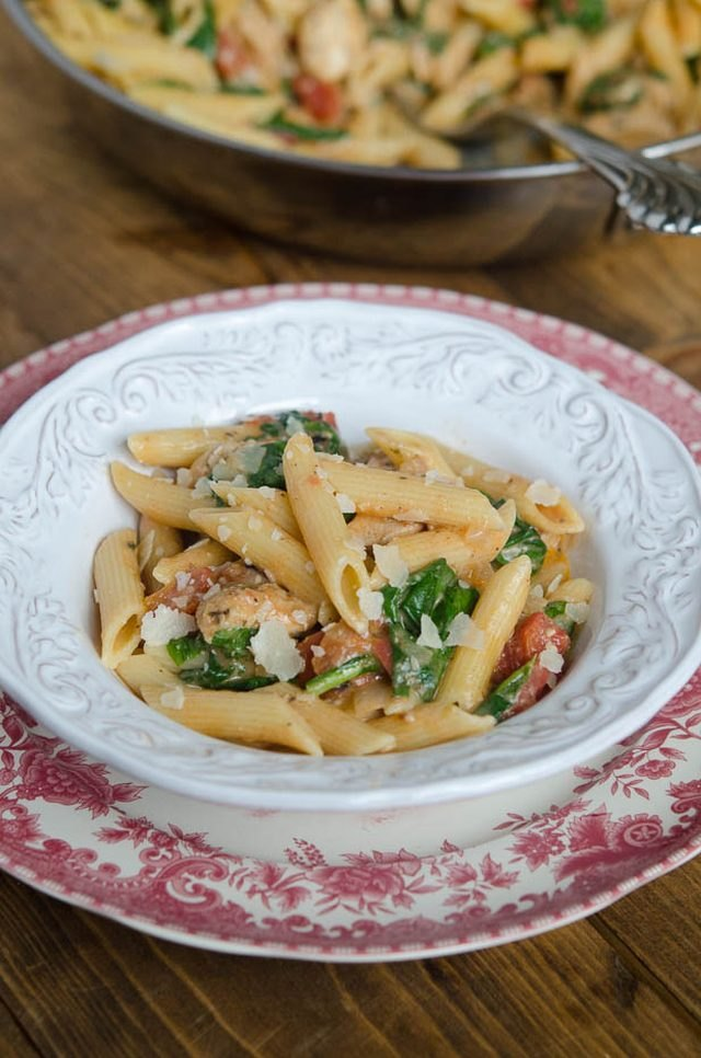 This chicken and spinach pasta dish is an inexpensive and tasty meal the whole family can enjoy.