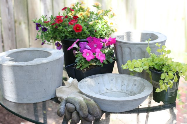 Use the concrete planters as flower pots