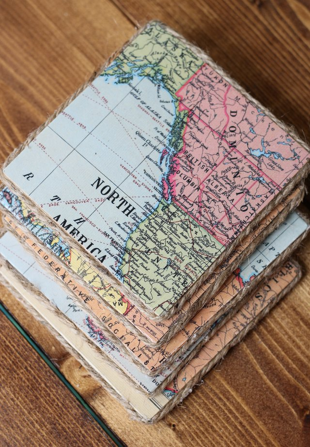 Use Vintage Maps To Make These Super Cool Coasters Ehow