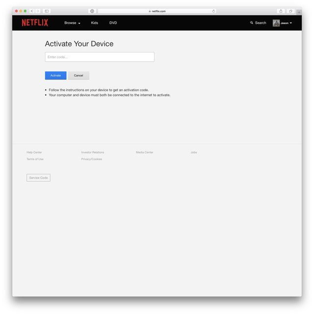 Netflix Activation screen awaiting an activation code.