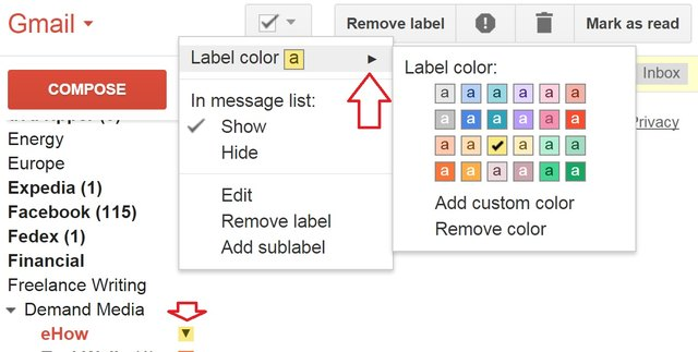 how to change label color in gmail